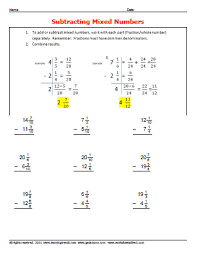 subtracting mixed number fractions worksheetsdirect com