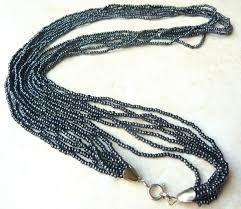 black seed bead necklace images Vintage black shimmering seed bead multi strand necklace jpg