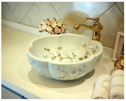Bathroom Bowl Vanities Artistic Painting Flowers Porcelain Art Countertop Washnasin