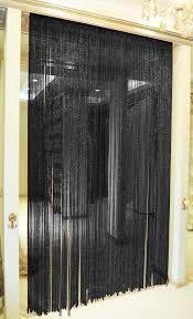 black string door curtain beads room divider window dew drop