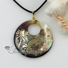 shell necklace with pearl images Round animal sea water black oyster shell mother of pearl goldleaf jpg
