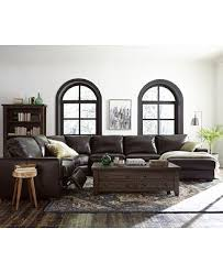 Macys Sectional Sofa Adken Leather Power Reclining Or Stationary Sectional Sofa