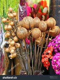 artificial flowers made coconut shell home stock photo 366158330