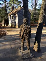 massachusetts l henry david thoreau statue and cabin on walden
