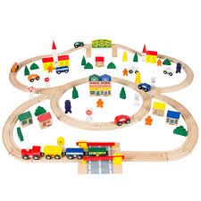 100pc hand crafted wooden train set triple loop railway wood track