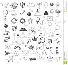 sketch of web design icons hand drawn with pen stock vector