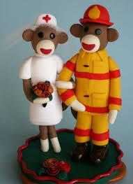 sock monkey wedding cake topper nurse and fireman new to m u2026 flickr