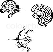 leo aries and sagittarius symbols stock vector colourbox