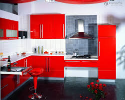 red kitchen cabinet with white wall and chair kitchen