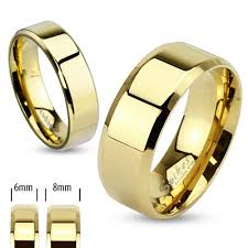 beveled ring ar081 stainless steel 14k gold ion plated beveled edge flat