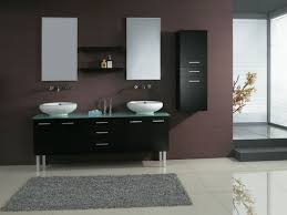 cool bathroom ideas in modern home design and decorating with black cabinet with drawers and lockers storages also glass countertop also mirrors and washbasin with faucet
