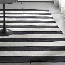 Black And White Living Room Rug Olin Black Striped Cotton Dhurrie Rug Crate And Barrel