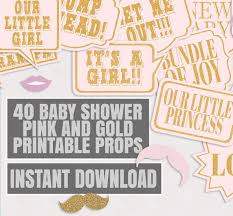 printable girly photo booth props 40 x baby girl pink and glitter gold baby shower photo booth props