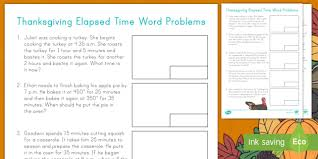 thanksgiving elapsed time word problems measurement problem