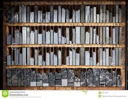 Letter Shelf Printing Press Letter Blocks In A Wooden Shelf Stock Photo Image
