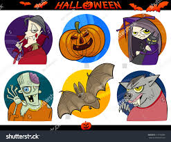 cartoon illustration halloween themes vampire zombie stock vector