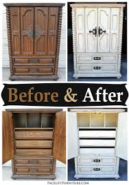 clothing armoires chunky clothing armoire in distressed off white before after