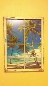 Beach Theme Bedroom by Window Frame With Beach Poster Attached Behind For Beach Themed