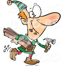 cartoon vector of a happy christmas elf carrying wood and a hammer