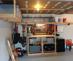 garage workbench with also a wooden workbench with also a steel