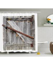 shower curtain aged wooden barn door print for bathroom