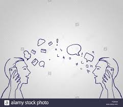 hand drawn sketch of two men talking mobile phones stock photo