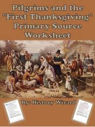 pilgrims and the thanksgiving primary source worksheet tpt