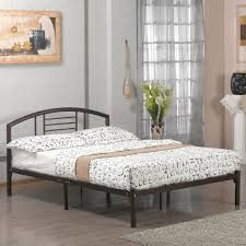 Platform Metal Bed Frame Size Platform Metal Bed Frame With Headboard In Bronze Finish