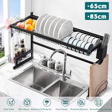 sink kitchen cabinet organizer 65 85cm stainless steel metal kitchen shelf organizer dishes drying rack sink drain rack kitchen storage countertop utensils holder