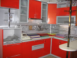 black and red kitchen home style design with shiny l shape base