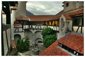 castle romania interior courtyard with a well