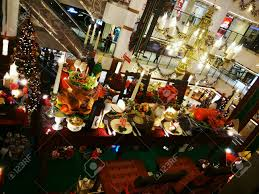 beautiful christmas decoration in shopping mall stock photo