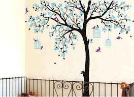 Tree Nursery Wall Decal Bird Cage Tree Nursery Room Decor Baby Room Wall Decal Large Tree