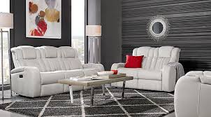 Servillo White Leather  Pc Living Room Leather Living Rooms White - White leather living room set