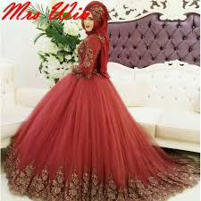 turkish wedding dresses gold applique gown muslim wedding dress 2017 custom made