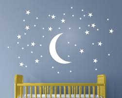 online get cheap white baby nursery aliexpress com alibaba group 50 stars and moon wall stickers for kids room creative white stars baby wall decals nursery wall art decor mural wallpaper d857