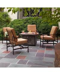 Patio Table With Firepit by Bargains On Hampton Bay Niles Park 5 Piece Gas Fire Pit Patio