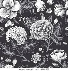 vintage black beautiful vintage floral seamless pattern garden stock vector