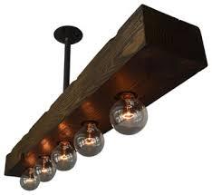 Wood Island Light Recessed 5 Light Wood Beam Rustic Kitchen Island Lighting By