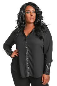 blouse plus size poetic justice plus size brandi black v neck blouse w black