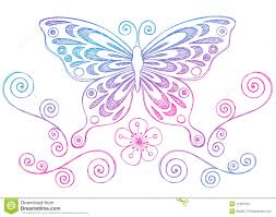 sketchy notebook doodles butterfly and swirls stock vector