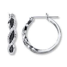 black diamond hoop earrings black diamond hoop earrings sterling silver