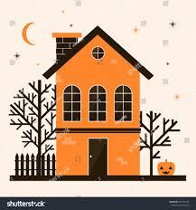 illustration cute cartoon halloween house pumpkin stock vector