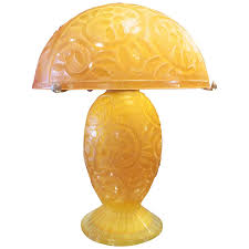 Art Deco Table Lamps Large Daum Nancy French Art Deco Etched Glass Table Lamp At 1stdibs