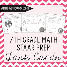 7th grade math staar prep task cards data collection sheets