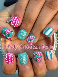 chely cheetah nails acrylic nails mint vintage flower rockstar