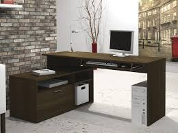 L Shaped Modern Desk by Furniture Amazing Brown L Shaped Desk Design Founded Project