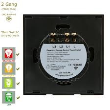 black glass touch panel light switch 2 gang 1 way rf pairing 2 way