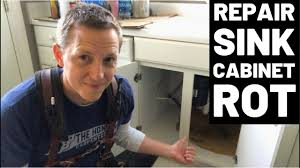 sink kitchen cabinet base repair rotted sink cabinet floor how to fix