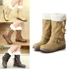 womens mid calf boots nz low heel flat fur mid calf boots lace up us 24 99